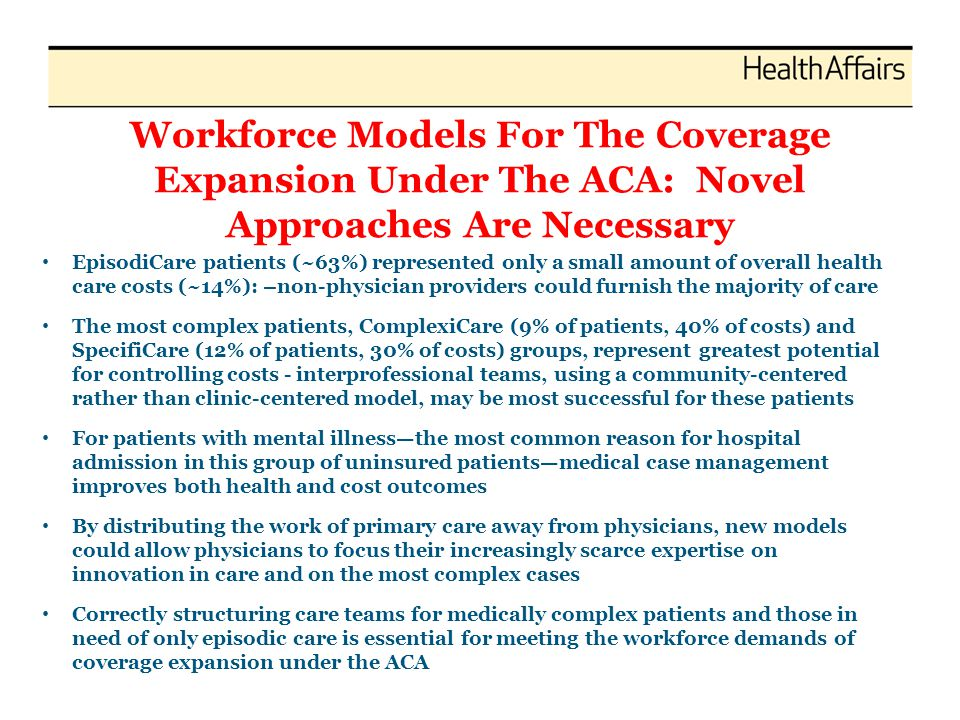 Workforce Models For The Coverage Expansion Under The ACA: Novel Approaches Are Necessary EpisodiCare patients (~63%) represented only a small amount