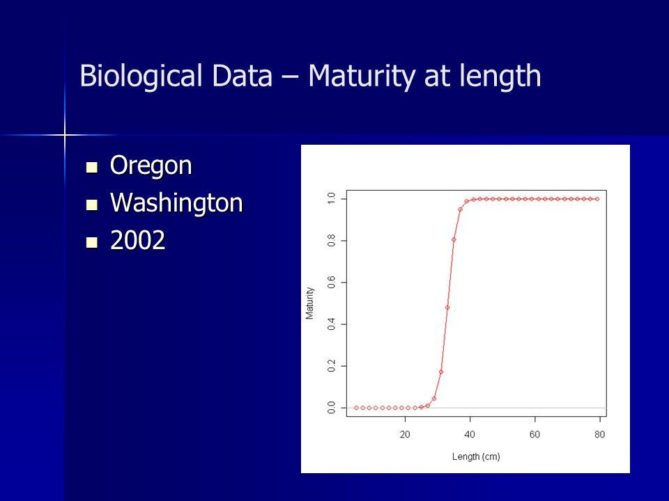 Biological Data – Maturity at length Oregon Oregon Washington Washington 2002 2002
