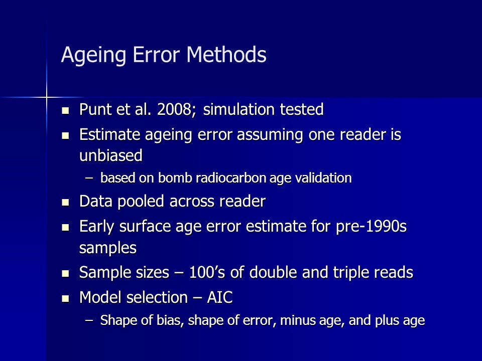 Ageing Error Methods Punt et al. 2008; simulation tested Punt et al. 2008; simulation tested Estimate ageing error assuming one reader is unbiased Est