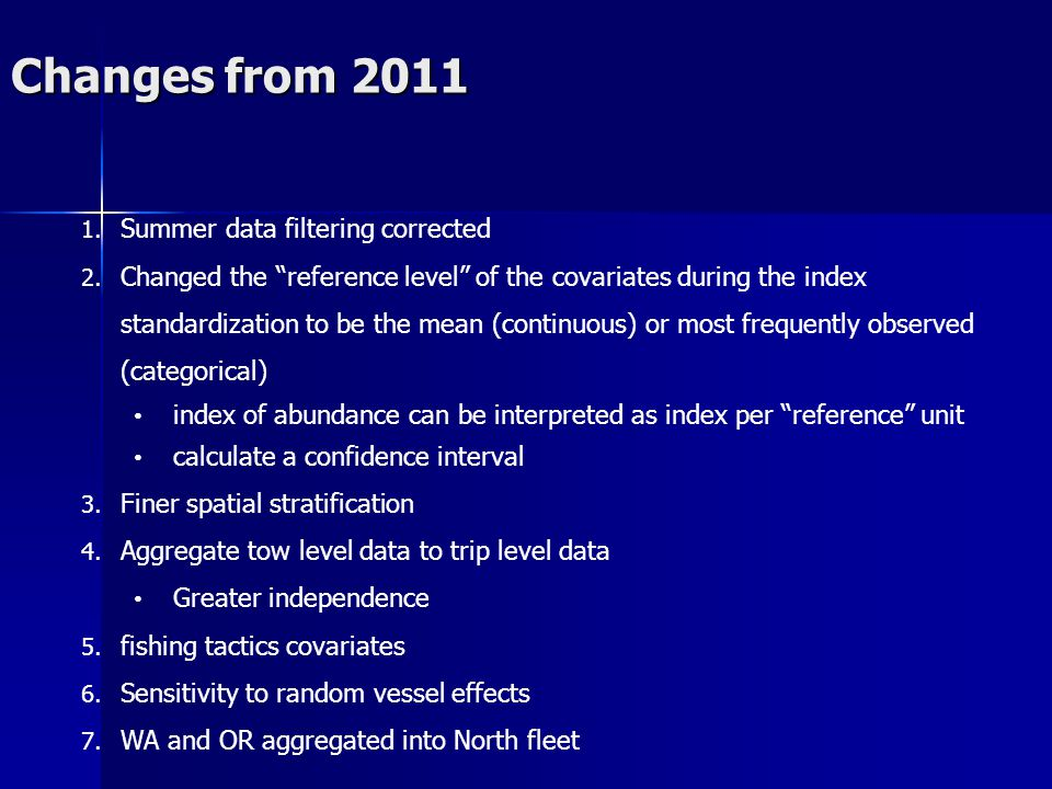 Changes from 2011 1. Summer data filtering corrected 2. Changed the reference level of the covariates during the index standardization to be the mean