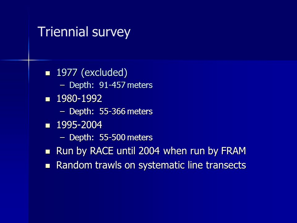 Triennial survey 1977 (excluded) 1977 (excluded) –Depth: 91-457 meters 1980-1992 1980-1992 –Depth: 55-366 meters 1995-2004 1995-2004 –Depth: 55-500 meters Run by RACE until 2004 when run by FRAM Run by RACE until 2004 when run by FRAM Random trawls on systematic line transects Random trawls on systematic line transects