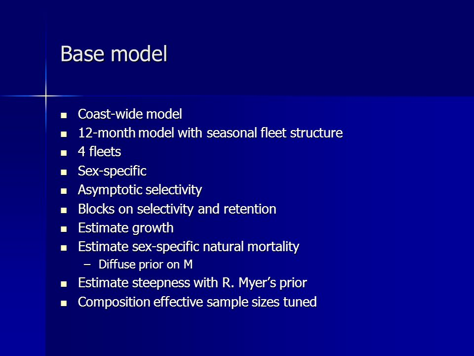 Base model Coast-wide model Coast-wide model 12-month model with seasonal fleet structure 12-month model with seasonal fleet structure 4 fleets 4 flee