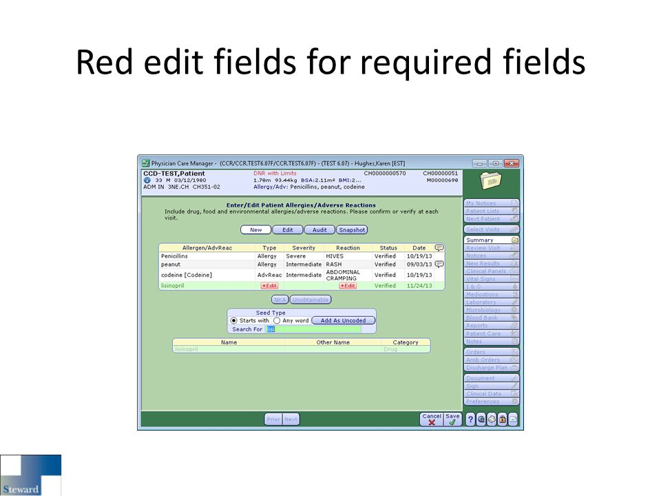 Red edit fields for required fields