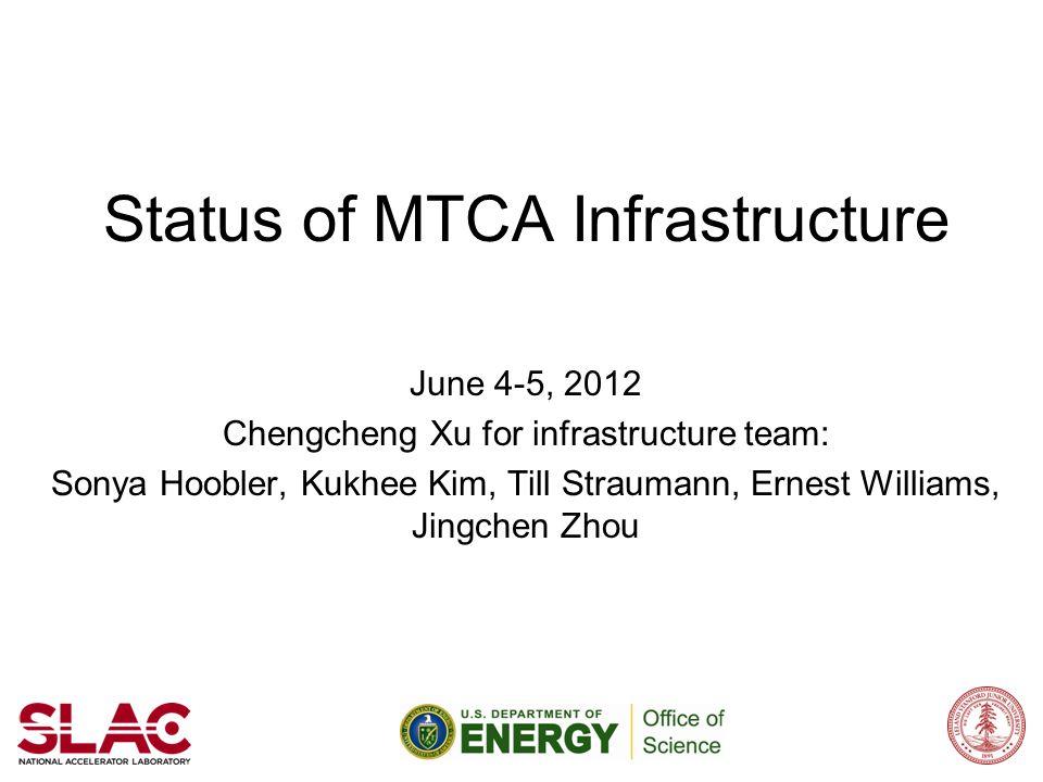 Status of MTCA Infrastructure June 4-5, 2012 Chengcheng Xu for infrastructure team: Sonya Hoobler, Kukhee Kim, Till Straumann, Ernest Williams, Jingch