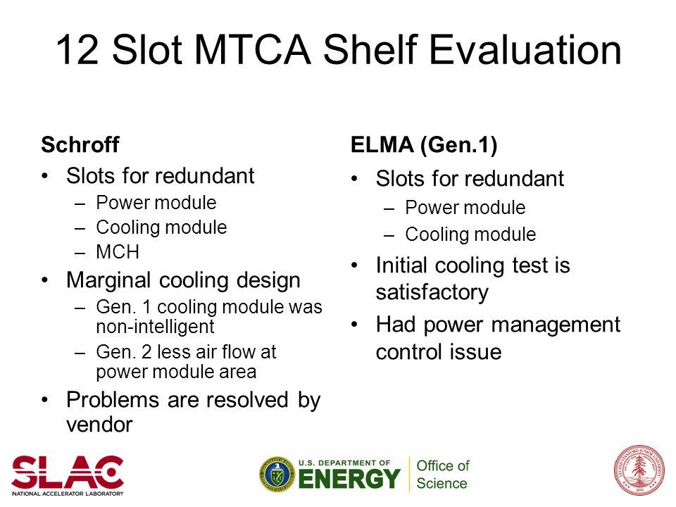 12 Slot MTCA Shelf Evaluation Schroff Slots for redundant –Power module –Cooling module –MCH Marginal cooling design –Gen. 1 cooling module was non-in