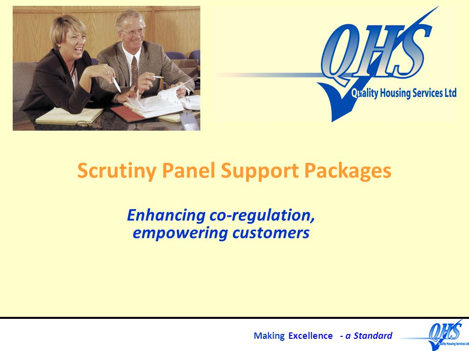 Making Excellence - a Standard Scrutiny Panel Support Packages Enhancing co-regulation, empowering customers