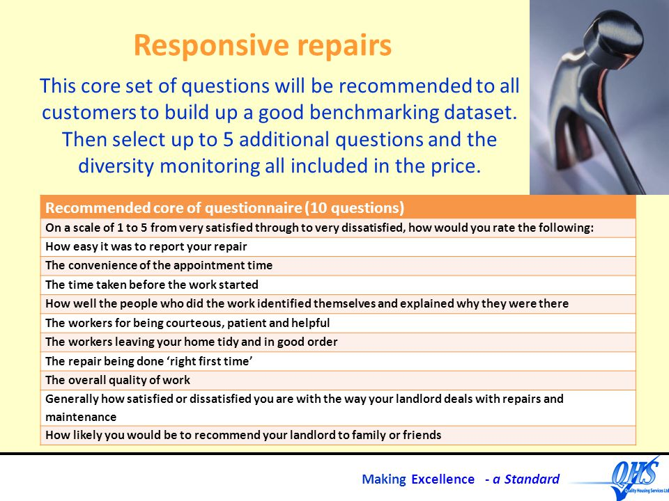 Making Excellence - a Standard Responsive repairs Recommended core of questionnaire (10 questions) On a scale of 1 to 5 from very satisfied through to