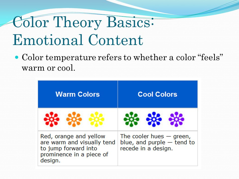 Color Theory Basics: Emotional Content Color temperature refers to whether a color feels warm or cool.