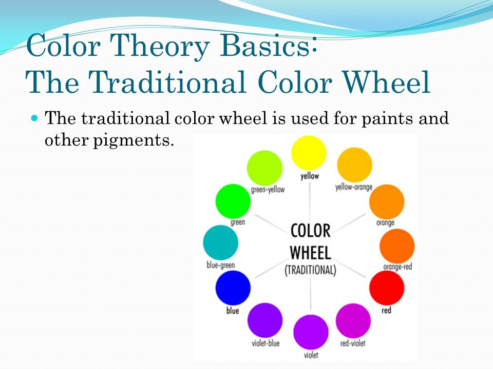Color Theory Basics: The Traditional Color Wheel The traditional color wheel is used for paints and other pigments.