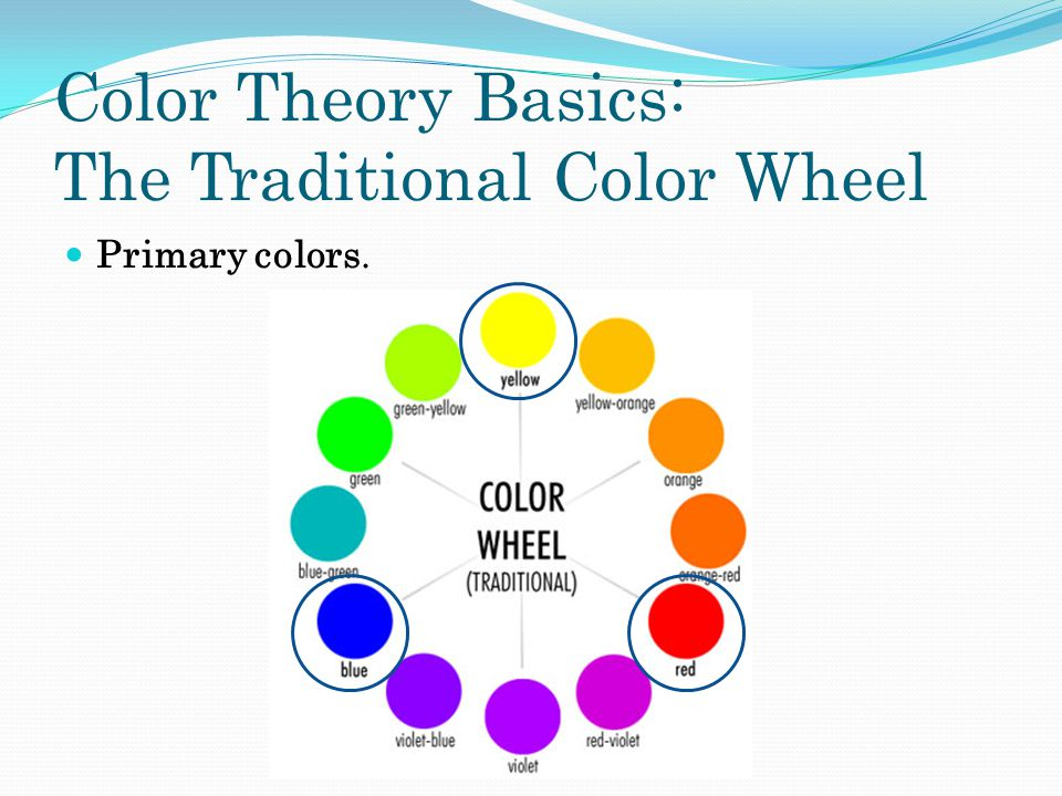 Color Theory Basics: The Traditional Color Wheel Primary colors.