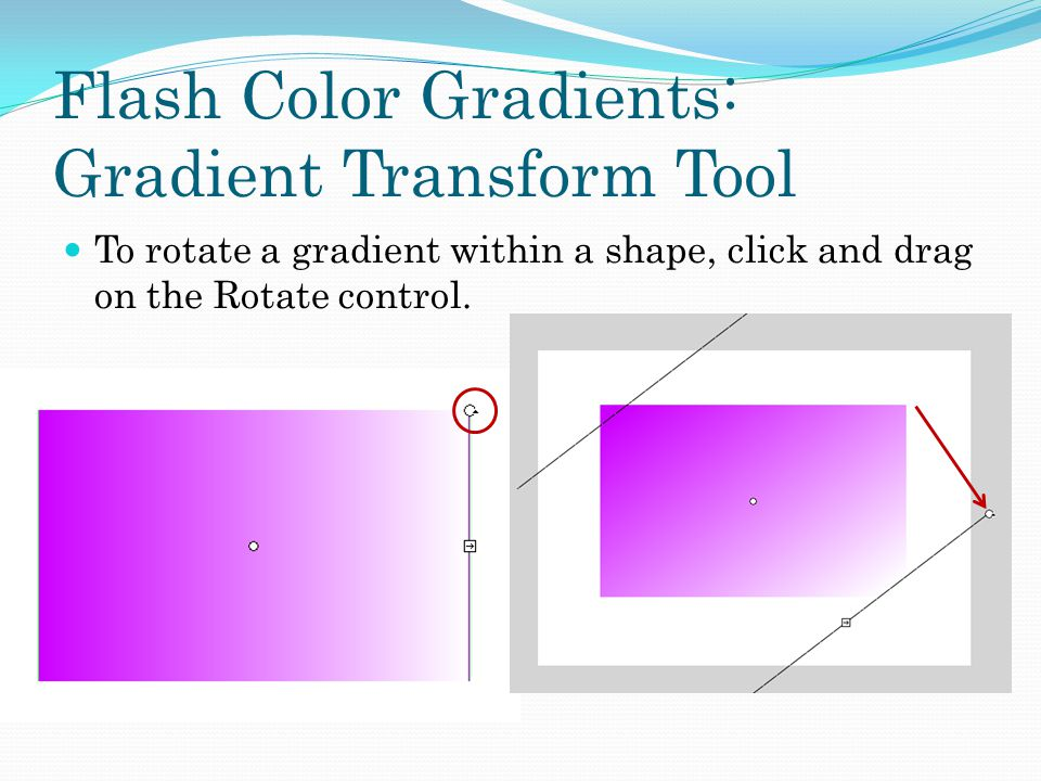 Flash Color Gradients: Gradient Transform Tool To rotate a gradient within a shape, click and drag on the Rotate control.