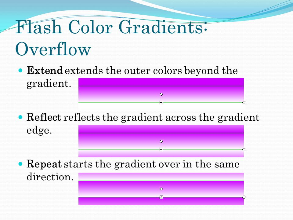 Flash Color Gradients: Overflow Extend extends the outer colors beyond the gradient.