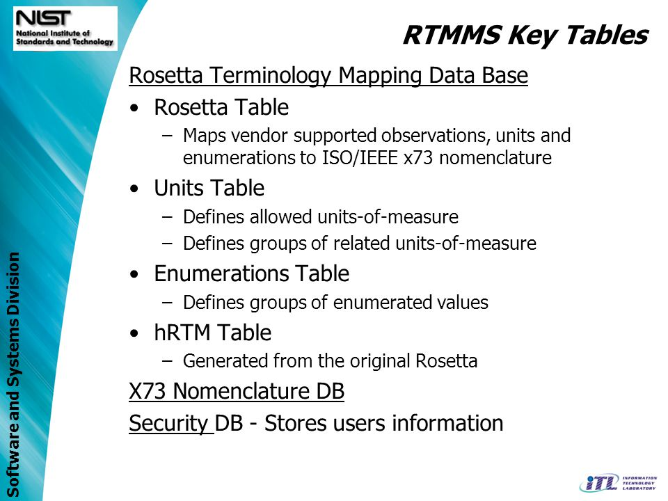 Software and Systems Division Rosetta Terminology Mapping Data Base Rosetta Table –Maps vendor supported observations, units and enumerations to ISO/IEEE x73 nomenclature Units Table –Defines allowed units-of-measure –Defines groups of related units-of-measure Enumerations Table –Defines groups of enumerated values hRTM Table –Generated from the original Rosetta X73 Nomenclature DB Security DB - Stores users information RTMMS Key Tables