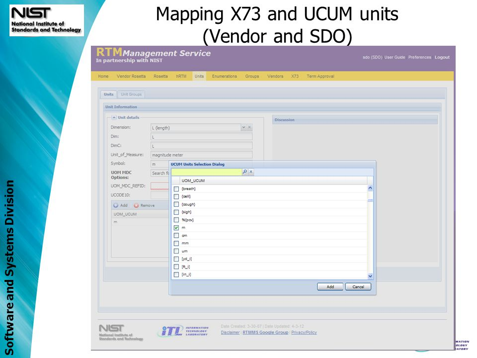 Software and Systems Division Mapping X73 and UCUM units (Vendor and SDO)