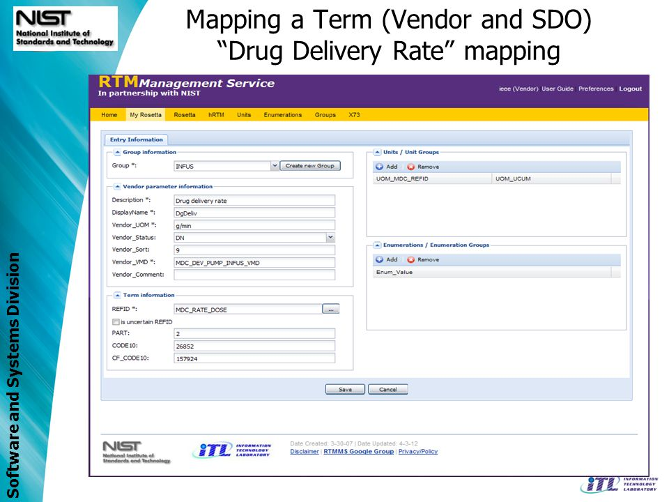 Software and Systems Division Mapping a Term (Vendor and SDO) Drug Delivery Rate mapping