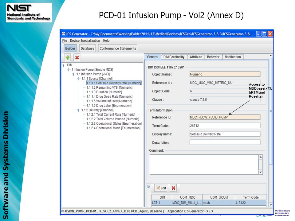 Software and Systems Division PCD-01 Infusion Pump - Vol2 (Annex D) Access to MDDbase(x73, hRTM and Rosetta)