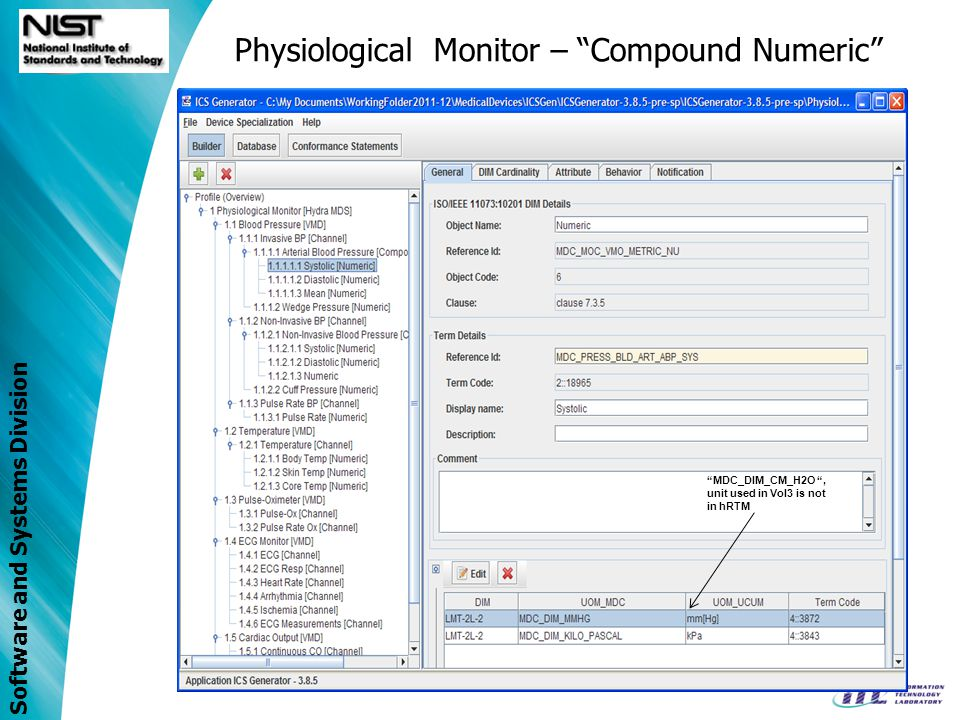 Software and Systems Division Physiological Monitor – Compound Numeric MDC_DIM_CM_H2O, unit used in Vol3 is not in hRTM
