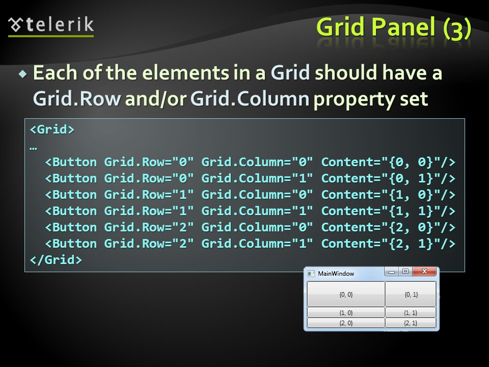 Each of the elements in a Grid should have a Grid.Row and/or Grid.Column property set Each of the elements in a Grid should have a Grid.Row and/or Grid.Column property set <Grid>… </Grid>