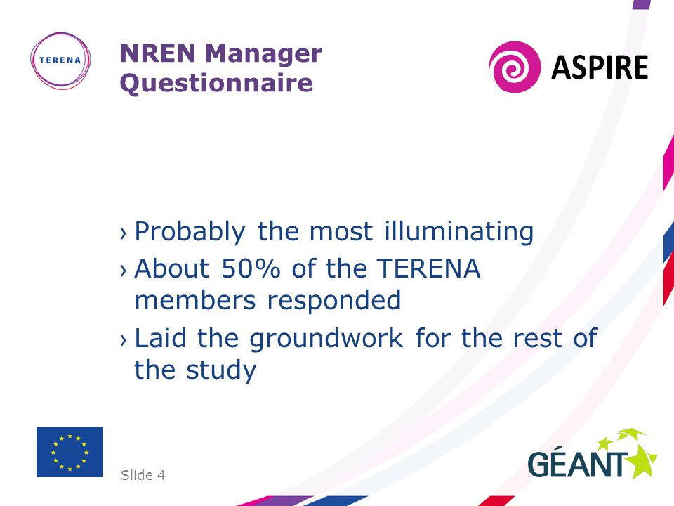 Slide 4 NREN Manager Questionnaire Probably the most illuminating About 50% of the TERENA members responded Laid the groundwork for the rest of the study