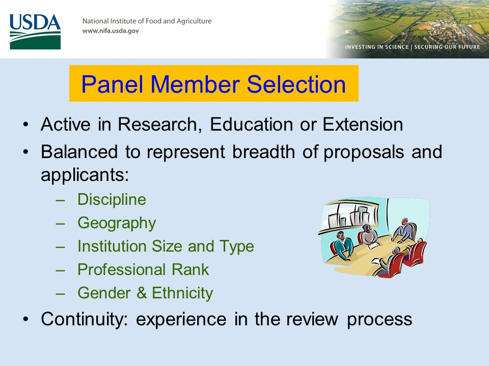 Panel Member Selection Active in Research, Education or Extension Balanced to represent breadth of proposals and applicants: –Discipline –Geography –I