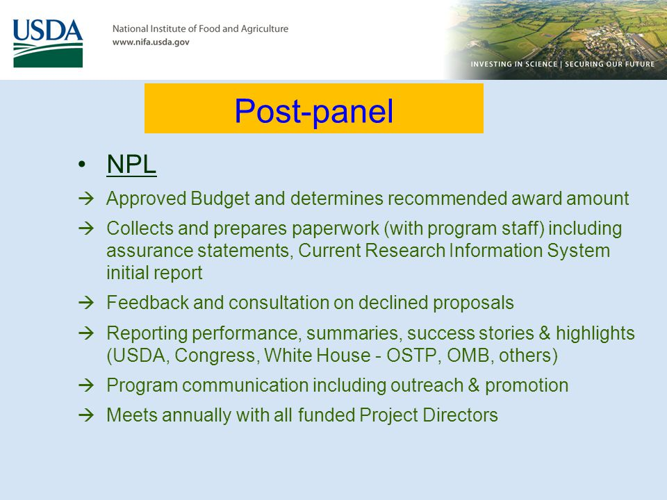 NPL Approved Budget and determines recommended award amount Collects and prepares paperwork (with program staff) including assurance statements, Curre