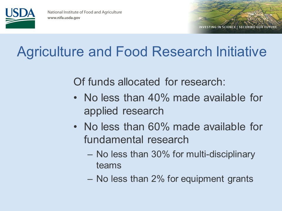 Agriculture and Food Research Initiative Of funds allocated for research: No less than 40% made available for applied research No less than 60% made a