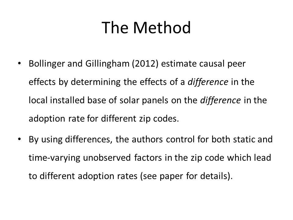 Findings #1 Causal peer effects exist in the diffusion of solar panels.