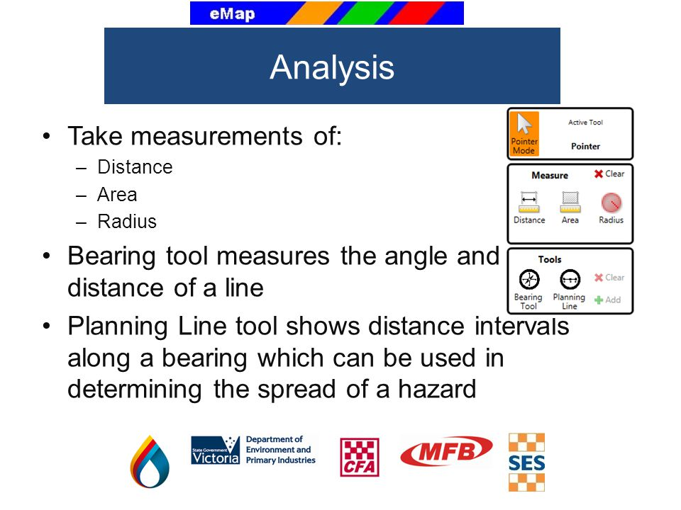Take measurements of: –Distance –Area –Radius Bearing tool measures the angle and distance of a line Planning Line tool shows distance intervals along a bearing which can be used in determining the spread of a hazard Analysis