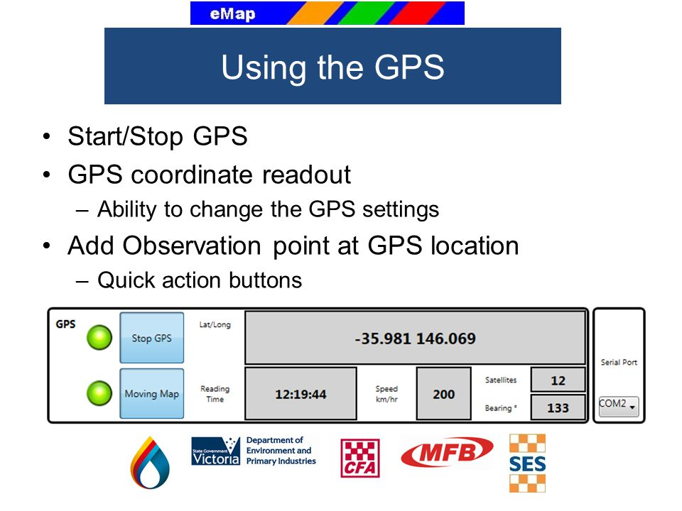 Start/Stop GPS GPS coordinate readout –Ability to change the GPS settings Add Observation point at GPS location –Quick action buttons Using the GPS