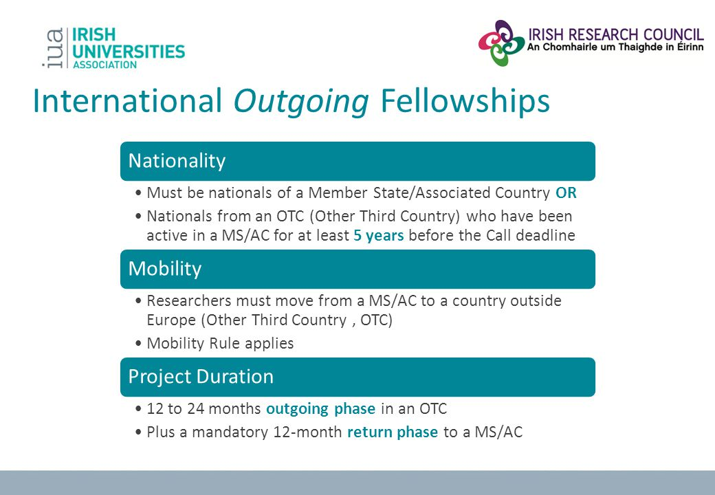 International Outgoing Fellowships Nationality Must be nationals of a Member State/Associated Country OR Nationals from an OTC (Other Third Country) w