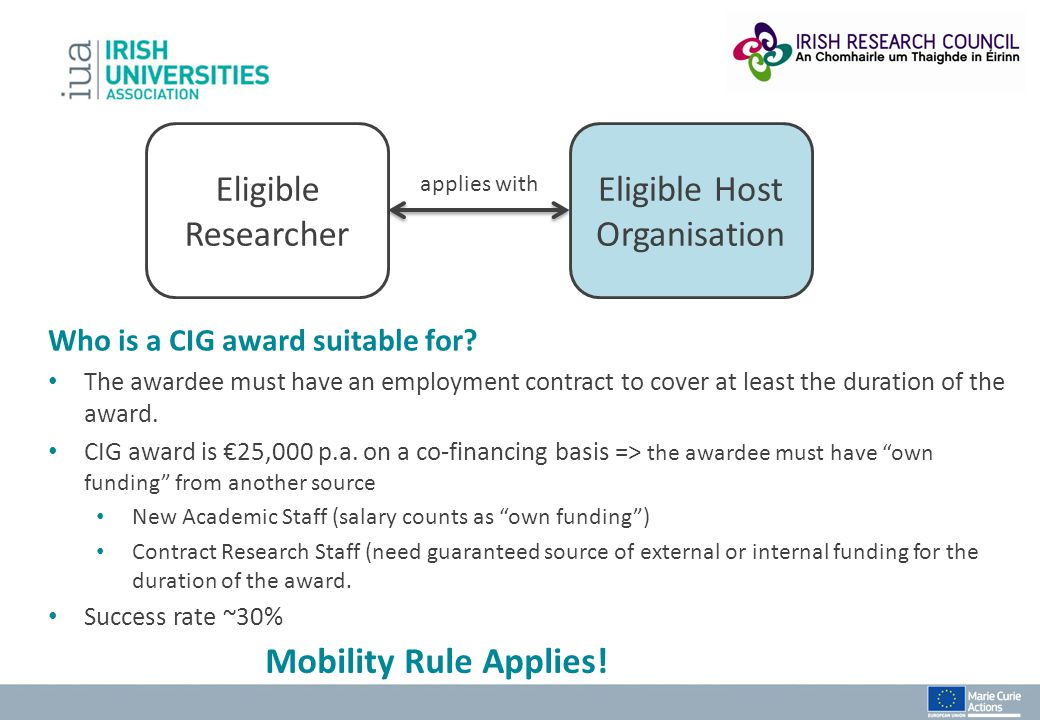 Eligible Researcher Eligible Host Organisation applies with Who is a CIG award suitable for? The awardee must have an employment contract to cover at