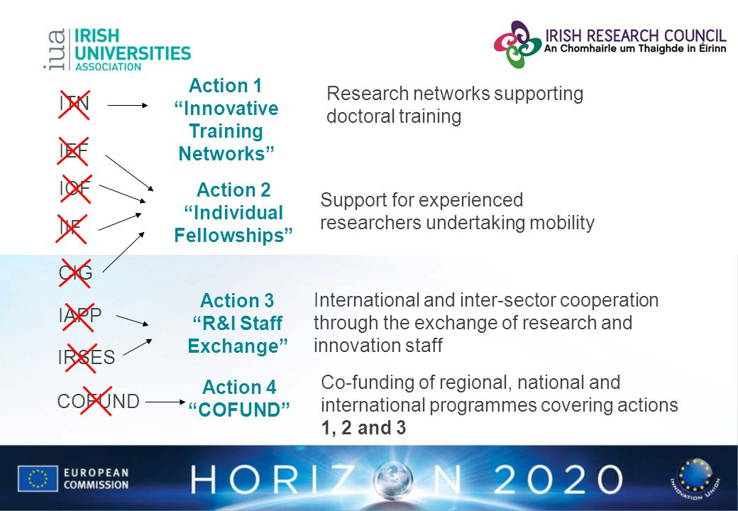 IAPP IRSES IEF IOF IIF CIG COFUND Research networks supporting doctoral training Action 1 Innovative Training Networks ITN Action 2 Individual Fellows