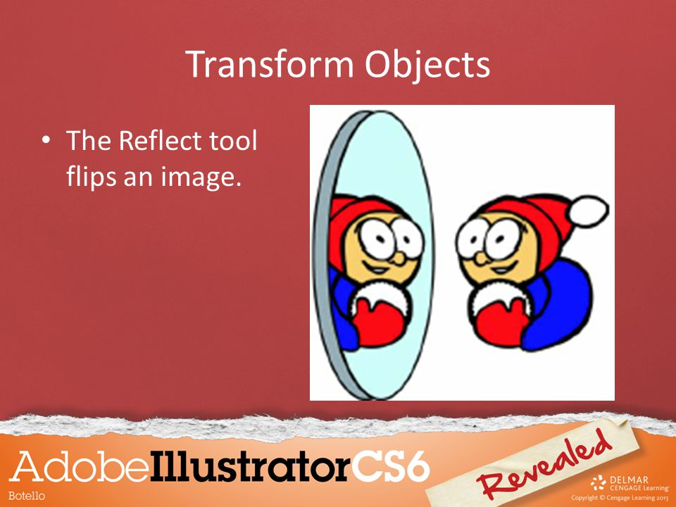 Transform Objects The Reflect tool flips an image.
