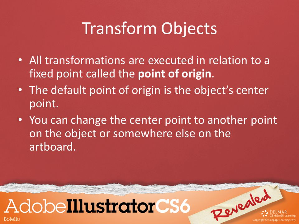Transform Objects Use the Free Transform Tool to distort objects in perspective
