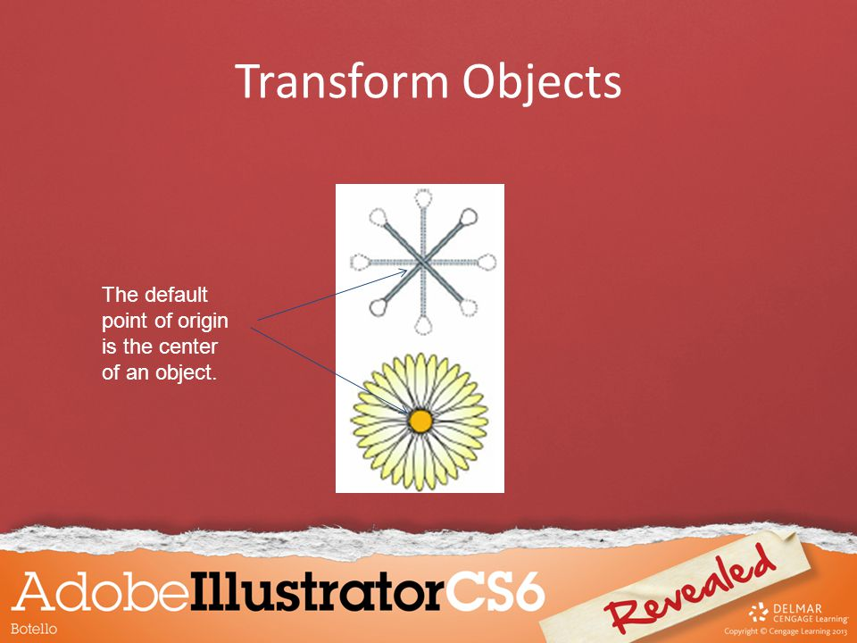 Transform Objects The default point of origin is the center of an object.