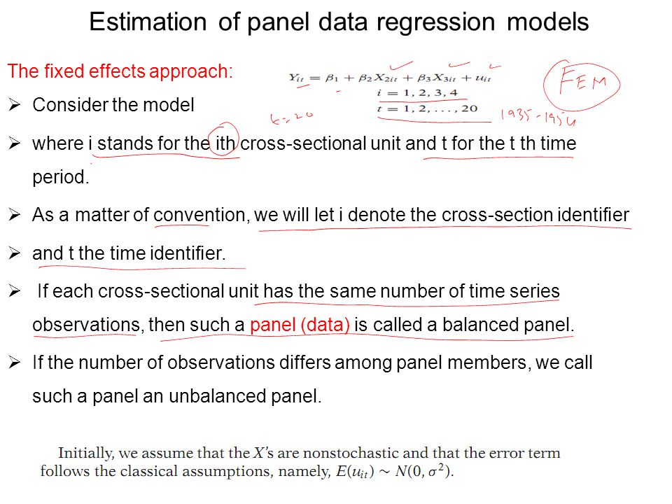 Fixed effect model (FEM) Estimation of the model depends on the assumptions we make about the intercept, the slope coefcients, and the error term, ui.