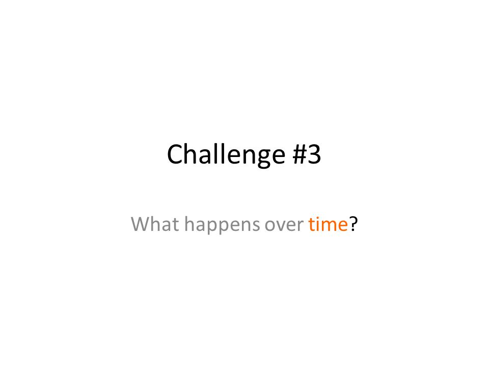 Challenge #3 What happens over time