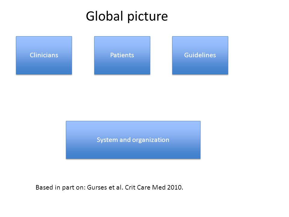 Clinicians System and organization Patients Guidelines Based in part on: Gurses et al. Crit Care Med 2010. Global picture