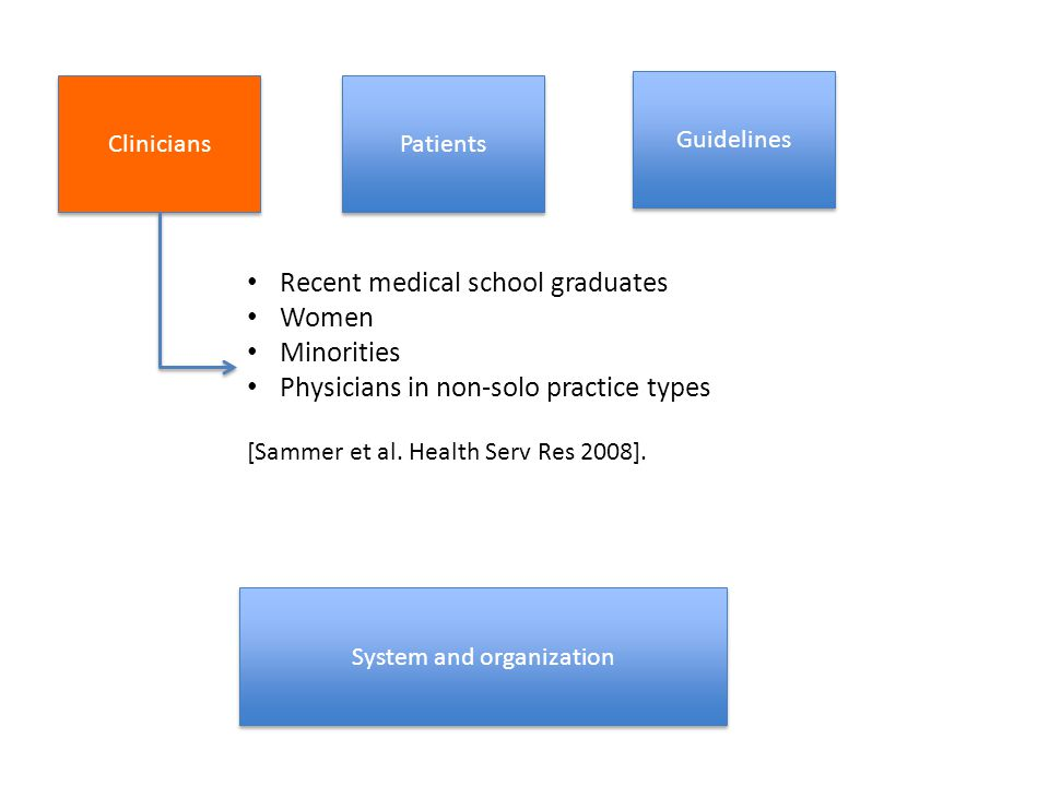 Clinicians Guidelines System and organization Patients Recent medical school graduates Women Minorities Physicians in non-solo practice types [Sammer