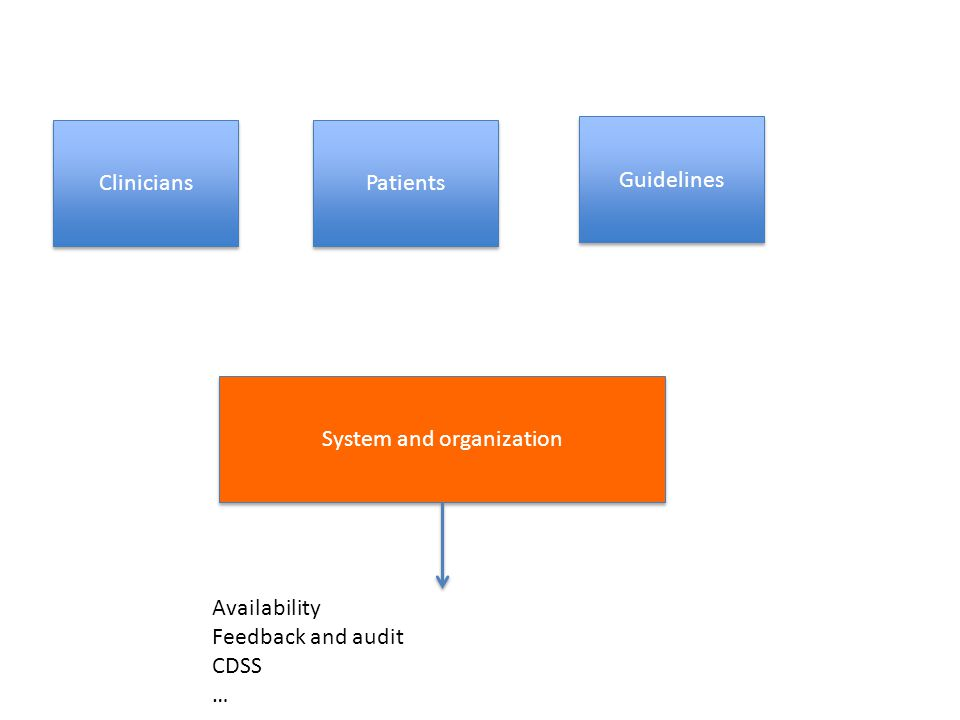 Clinicians Guidelines System and organization Availability Feedback and audit CDSS … Patients