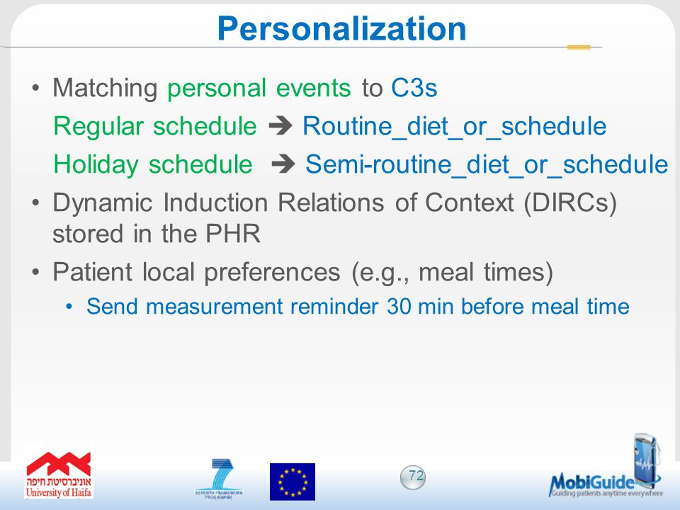 Matching personal events to C3s Regular schedule Routine_diet_or_schedule Holiday schedule Semi-routine_diet_or_schedule Dynamic Induction Relations o