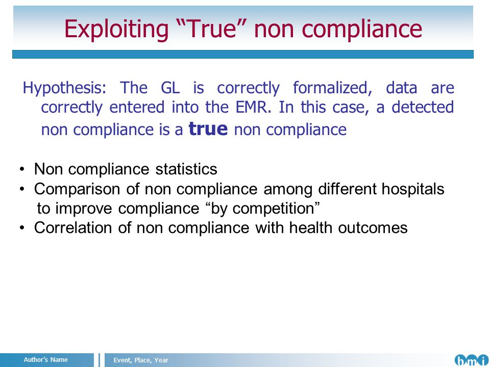 Angelo Nuzzo Milan, 2011 Event, Place, Year Authors Name Exploiting True non compliance Hypothesis: The GL is correctly formalized, data are correctly entered into the EMR.