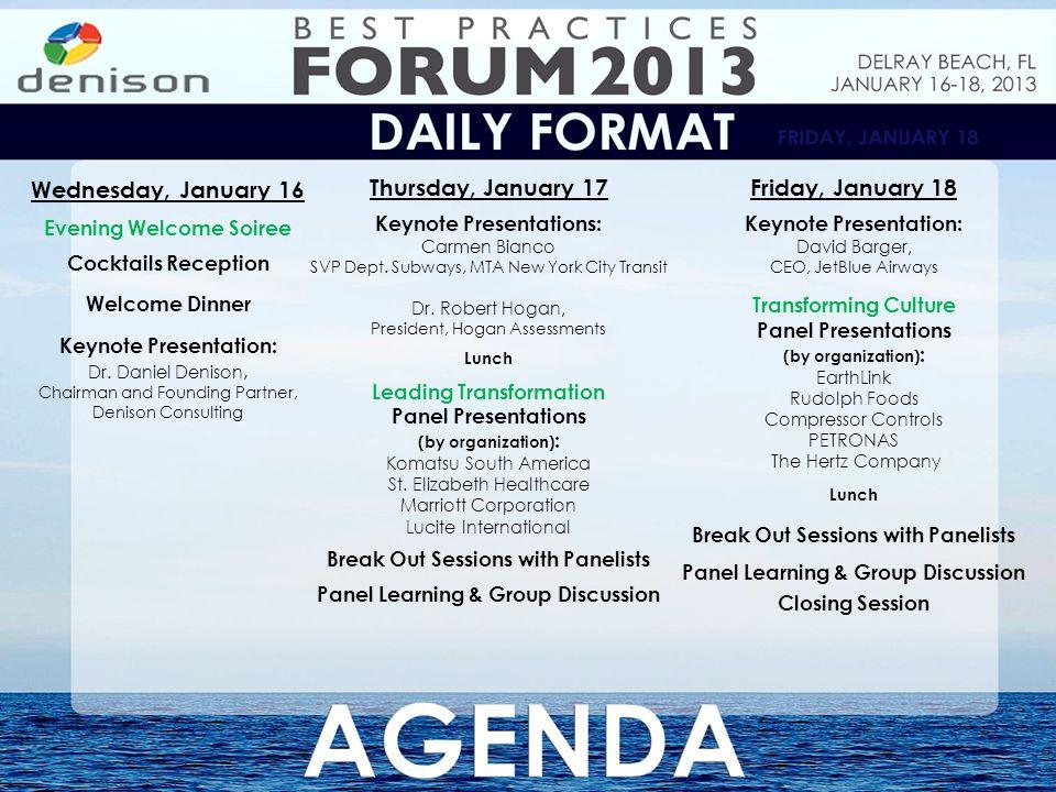 Thursday, January 17 Keynote Presentations: Carmen Bianco SVP Dept.