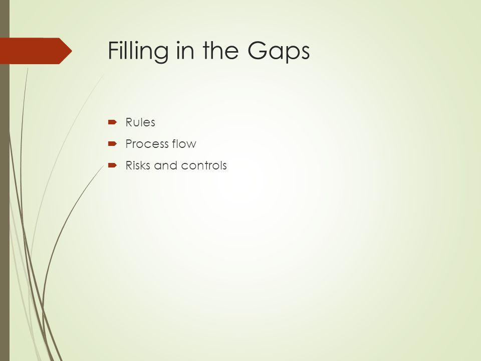 Filling in the Gaps Rules Process flow Risks and controls