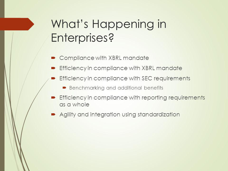 Whats Happening in Enterprises? Compliance with XBRL mandate Efficiency in compliance with XBRL mandate Efficiency in compliance with SEC requirements