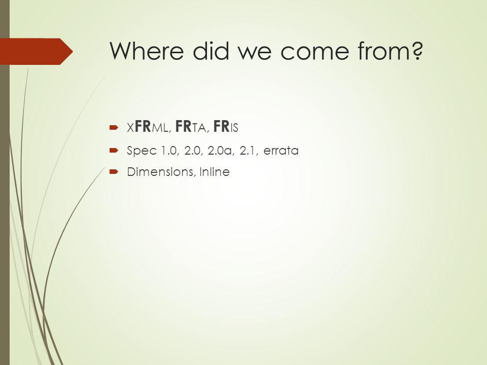 Where did we come from? X FR ML, FR TA, FR IS Spec 1.0, 2.0, 2.0a, 2.1, errata Dimensions, Inline