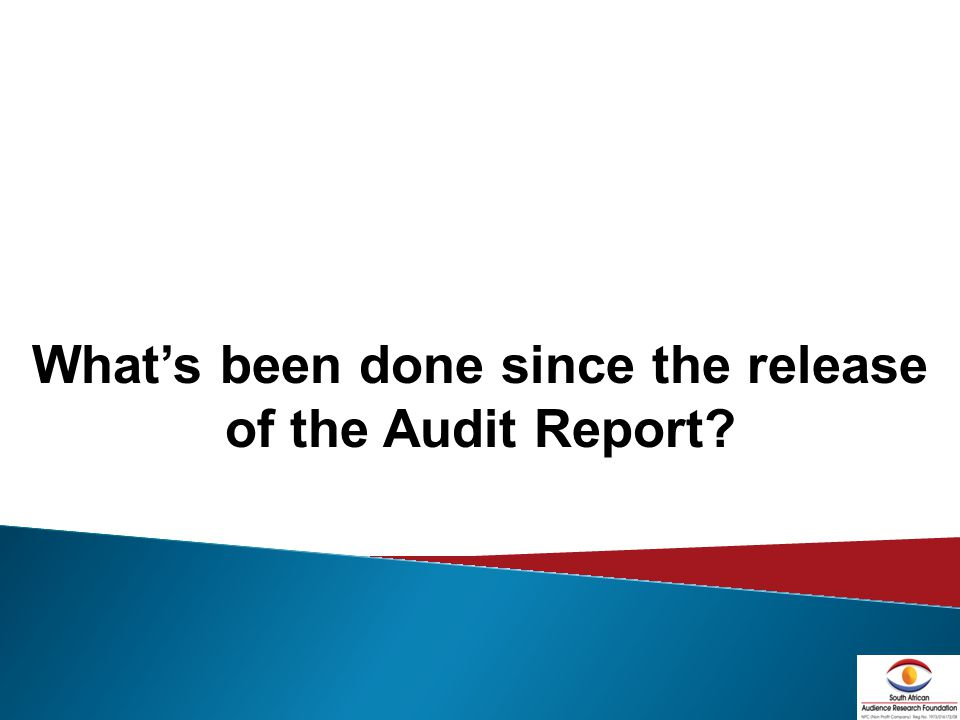 20 Whats been done since the release of the Audit Report