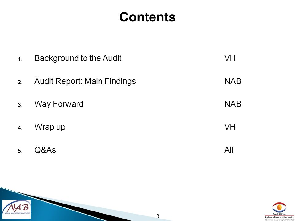 1. Background to the AuditVH 2. Audit Report: Main FindingsNAB 3.
