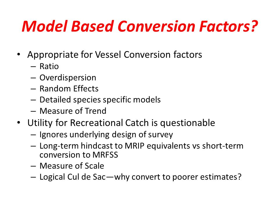 Model Based Conversion Factors.