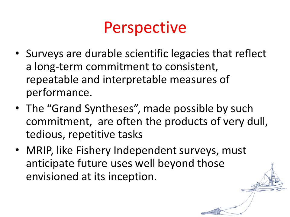 Perspective Surveys are durable scientific legacies that reflect a long-term commitment to consistent, repeatable and interpretable measures of performance.